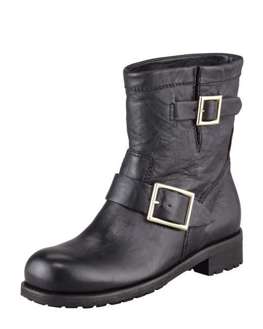 Jimmy choo Youth Leather Ankle Boots in Black - Save 51% | Lyst