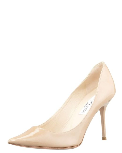 Jimmy Choo | Natural Agnes Pointed-toe Patent Pump | Lyst