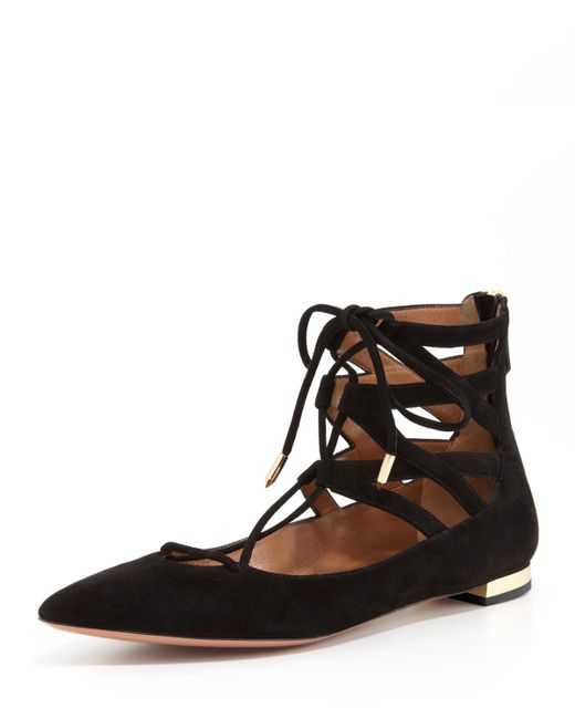 Aquazzura | Black Belgravia Lattice Suede Flat | Lyst