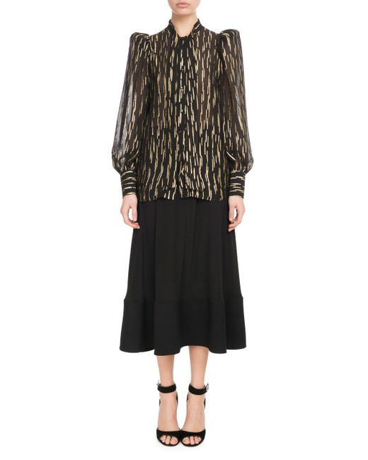Givenchy - Black Long-sleeve Button-front Golden Fil Coupe Silk Blouse - Lyst