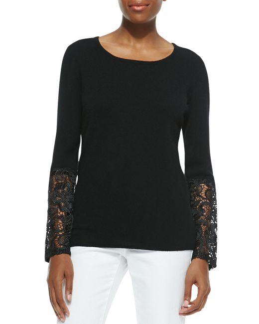 Sofia Cashmere   Black Cashmere Crochet-sleeve Sweater   Lyst
