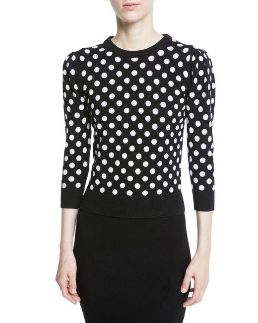 Michael Kors - Black Starlet Dot-intarsia Cashmere Crewneck 3/4-sleeve Sweater - Lyst