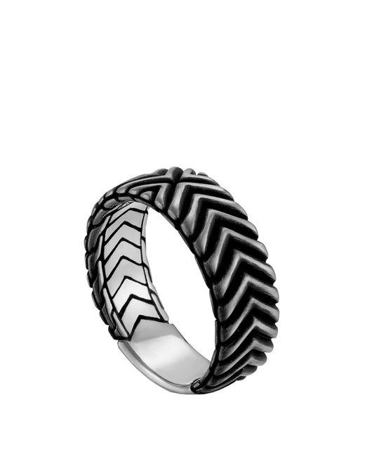 John Hardy | Metallic Men's Bedeg Triangle Line Pattern Band Ring | Lyst