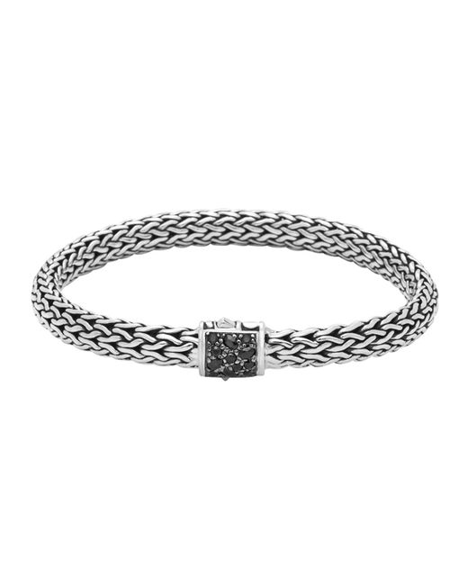 John Hardy | Metallic Men's Classic Chain Silver Lava Medium Bracelet With Black Sapphire for Men | Lyst