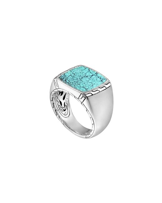 John Hardy   Blue Silver & Turquoise Signet Ring   Lyst