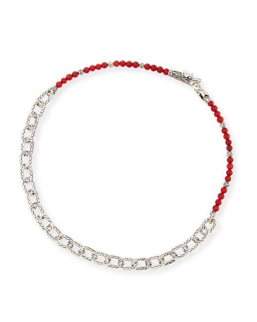 John Hardy | Men's Naga Red Coral Beads & Chain Wrap Bracelet for Men | Lyst