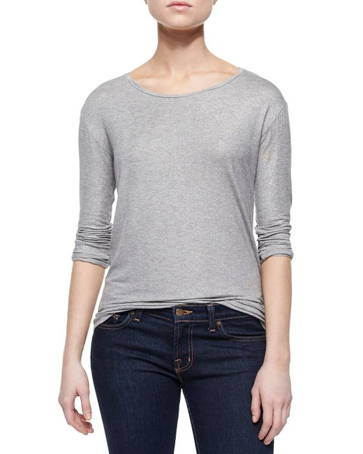 Neiman Marcus | Metallic Extrafine Long-sleeve Top | Lyst
