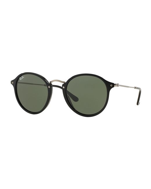 Ray-Ban | Black Round Plastic/metal Sunglasses | Lyst
