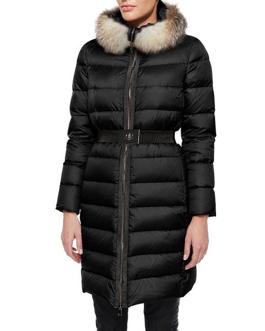 Moncler | Black Fabrefox Fur-trim Puffer Coat With Belt | Lyst