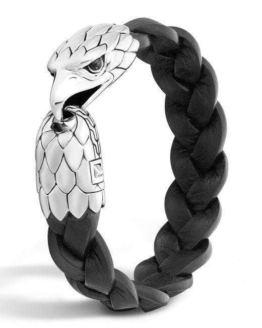 John Hardy | Metallic Men's Silver Eagle Head Leather Bracelet for Men | Lyst