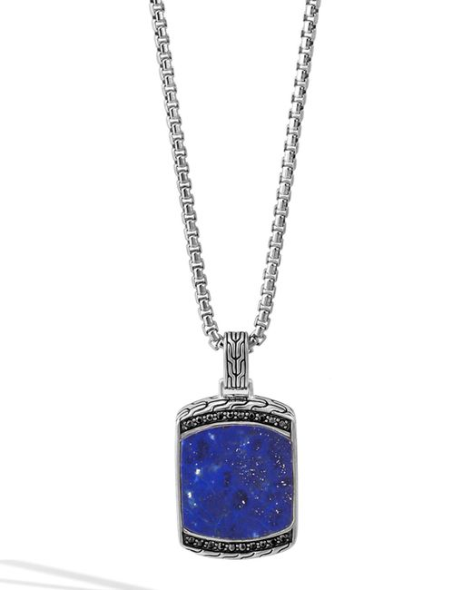 John Hardy | Blue Men's Batu Classic Chain Lapis Dog Tag Pendant Necklace for Men | Lyst