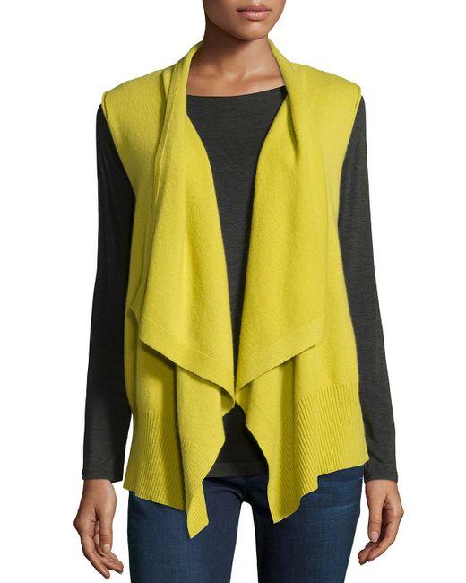 Neiman Marcus   Yellow Drapey Cashmere Vest   Lyst