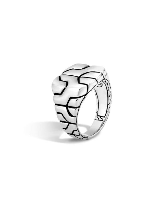 John Hardy | Metallic Woven Silver Chain Square Ring | Lyst