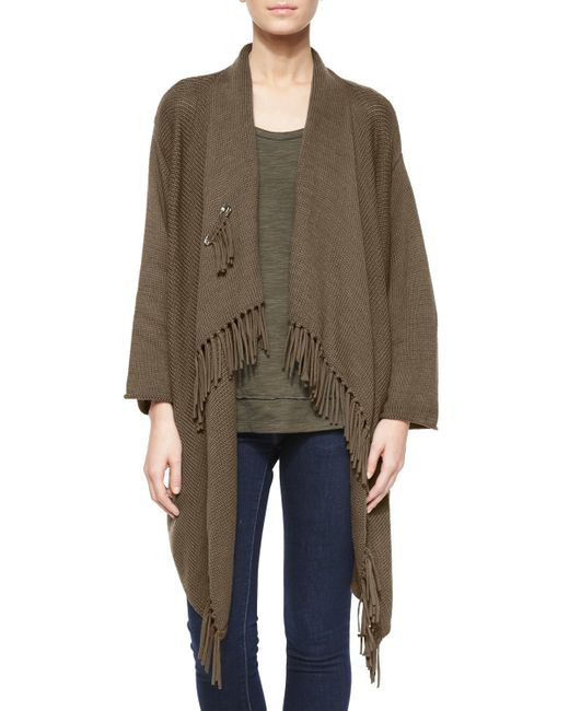 Pure Handknit | Green Fringe-front Open Cardigan | Lyst