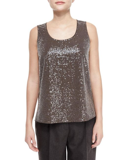 Lafayette 148 New York | Natural Cleo Sleeveless Sequined-front Blouse | Lyst
