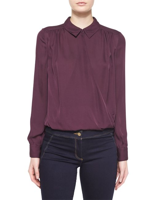 Veronica Beard | White Adams Silk Collared Shirt | Lyst
