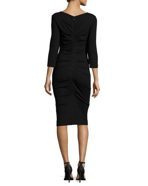 Nicole Miller | Blue 3/4-sleeve Ruched Knit Sheath Dress | Lyst