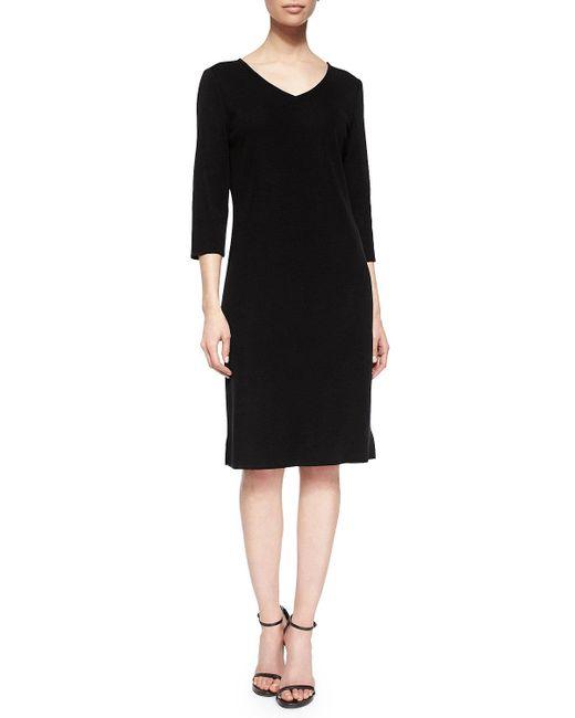 Misook | Black 3/4-sleeve V-neck Dress | Lyst