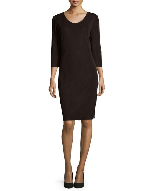 Misook | Brown 3/4-sleeve V-neck Dress | Lyst