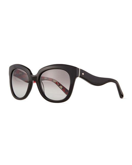 kate spade new york | Black Amberly Wavy-arm Plastic Sunglasses | Lyst