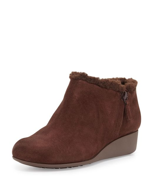 cole haan callie suede wedge boots in brown lyst