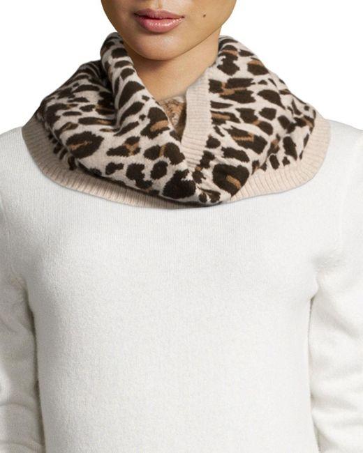 Rosie Sugden | White Cashmere Leopard-print Cowl Collar | Lyst