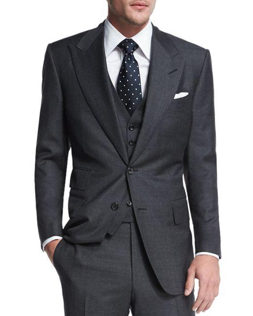 tom ford windsor base sharkskin three piece suit in gray. Black Bedroom Furniture Sets. Home Design Ideas