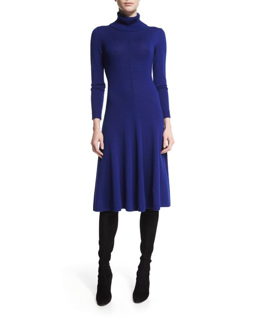 Lafayette 148 New York | Blue Long-sleeve Merino Turtleneck Dress | Lyst