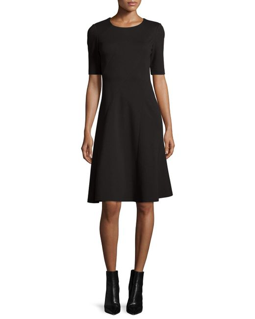 Lafayette 148 New York   Black Short-sleeve Fit & Flare Dress   Lyst