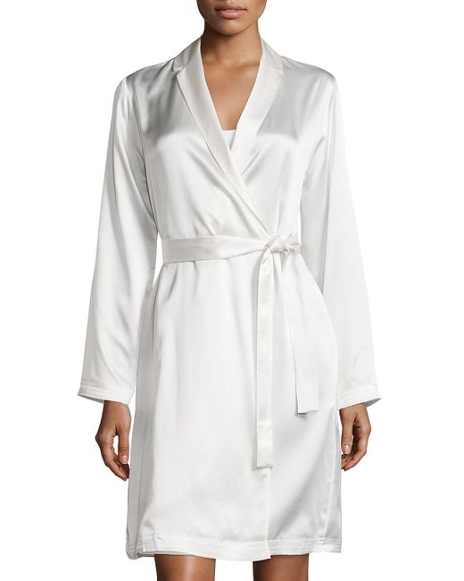 La Perla | Natural Silk Long-sleeve Short Robe | Lyst