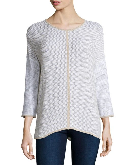 Belford | Natural Long-sleeve Oversized Pullover W/ Trim | Lyst