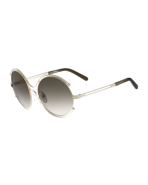 Chloé | Metallic Isidora Wire-rimmed Sunglasses | Lyst