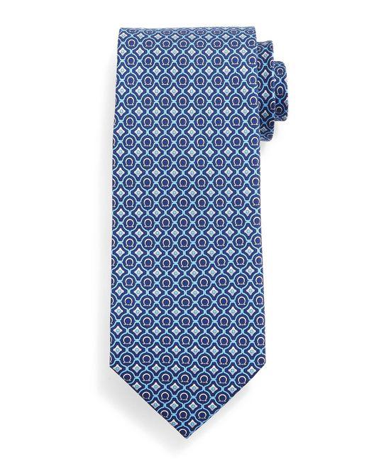 Ferragamo | Blue Geometric Gancini-print Tie for Men | Lyst