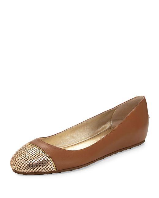 jimmy choo waine metal mesh toe ballerina flat in brown lyst. Black Bedroom Furniture Sets. Home Design Ideas