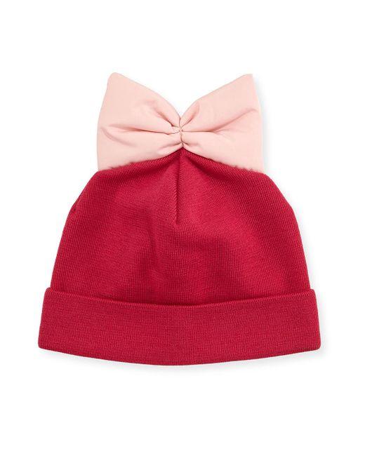 Federica Moretti | Purple Knit Beanie W/ Nylon Bow | Lyst