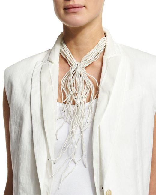 Brunello Cucinelli | White Riverstone Choker Tie Necklace | Lyst