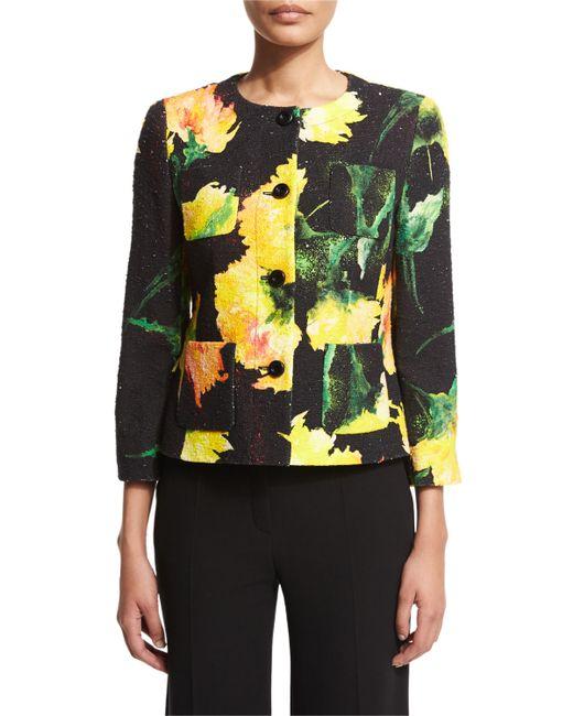 ESCADA | Yellow Carnation-Print Cotton-Blend Jacket | Lyst