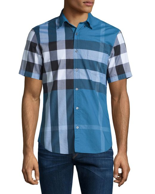Burberry brit exploded check short sleeve shirt in blue for Where are burberry shirts made