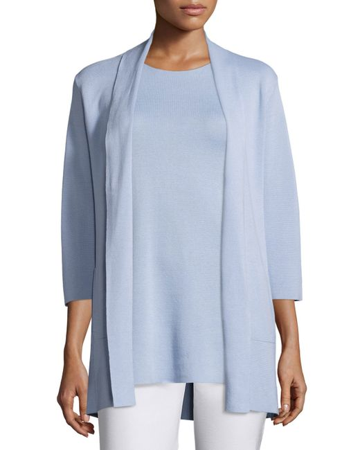 Eileen Fisher | Blue 3/4-sleeve Silk/organic-cotton Jacket | Lyst