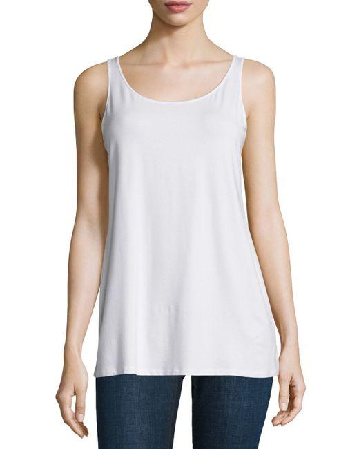 Eileen Fisher | White Sleeveless Scoop-neck Lightweight Jersey Tank | Lyst