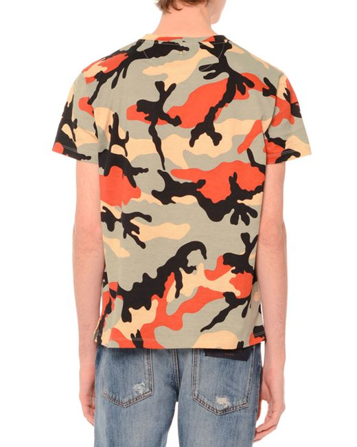 Valentino Camo Print Short Sleeve T Shirt In Multicolor
