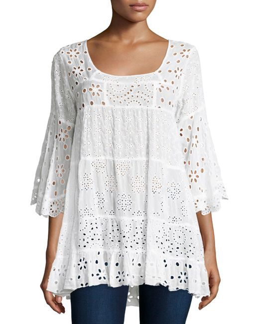 Johnny Was Bell Sleeve Eyelet Tiered Tunic In Black Save