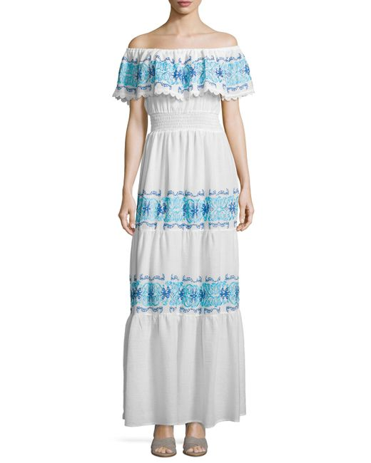 Maxi Ancient Greek Style Dress With Deep Neckline And: Nightcap Greek Isles Off-the-shoulder Maxi Dress In White