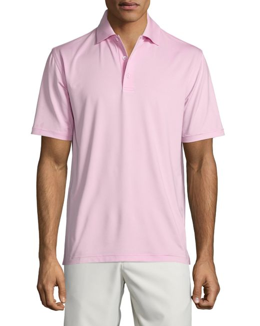 Peter millar solid jersey short sleeve polo shirt in pink for Peter millar polo shirts