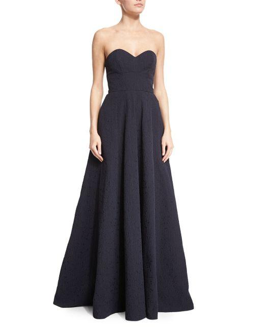 Lela Rose | Blue Strapless Sweetheart-neck Crepe Gown | Lyst