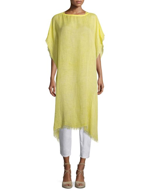 Eileen Fisher Short Sleeve Airy Linen Maltinto Long Poncho