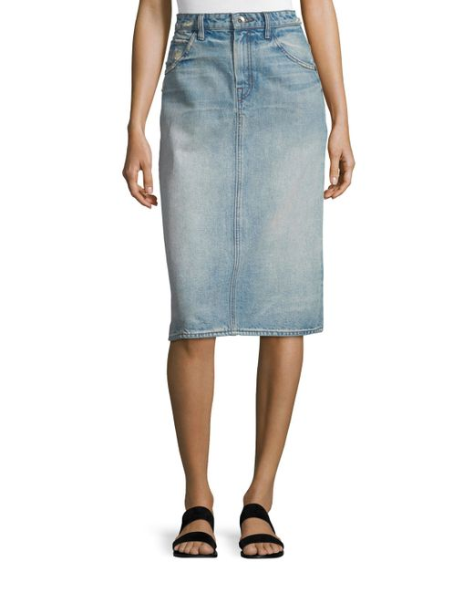 Helmut Lang Faded Denim Pencil Skirt In Blue | Lyst