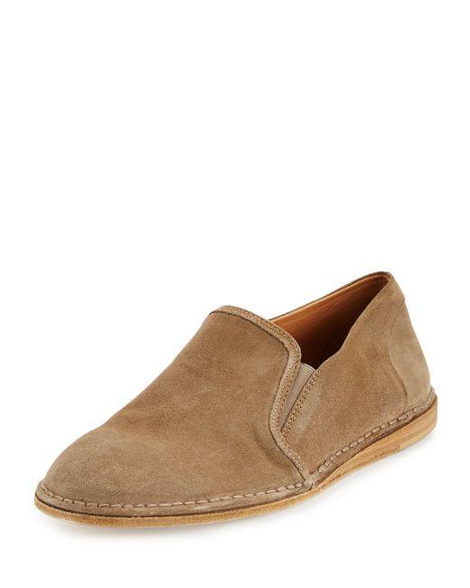 vince nigel suede slip on shoe in brown for lyst