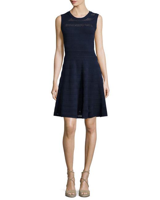 textured pointelle flare dress