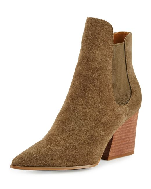 kendall finley pointed toe suede chelsea boots in